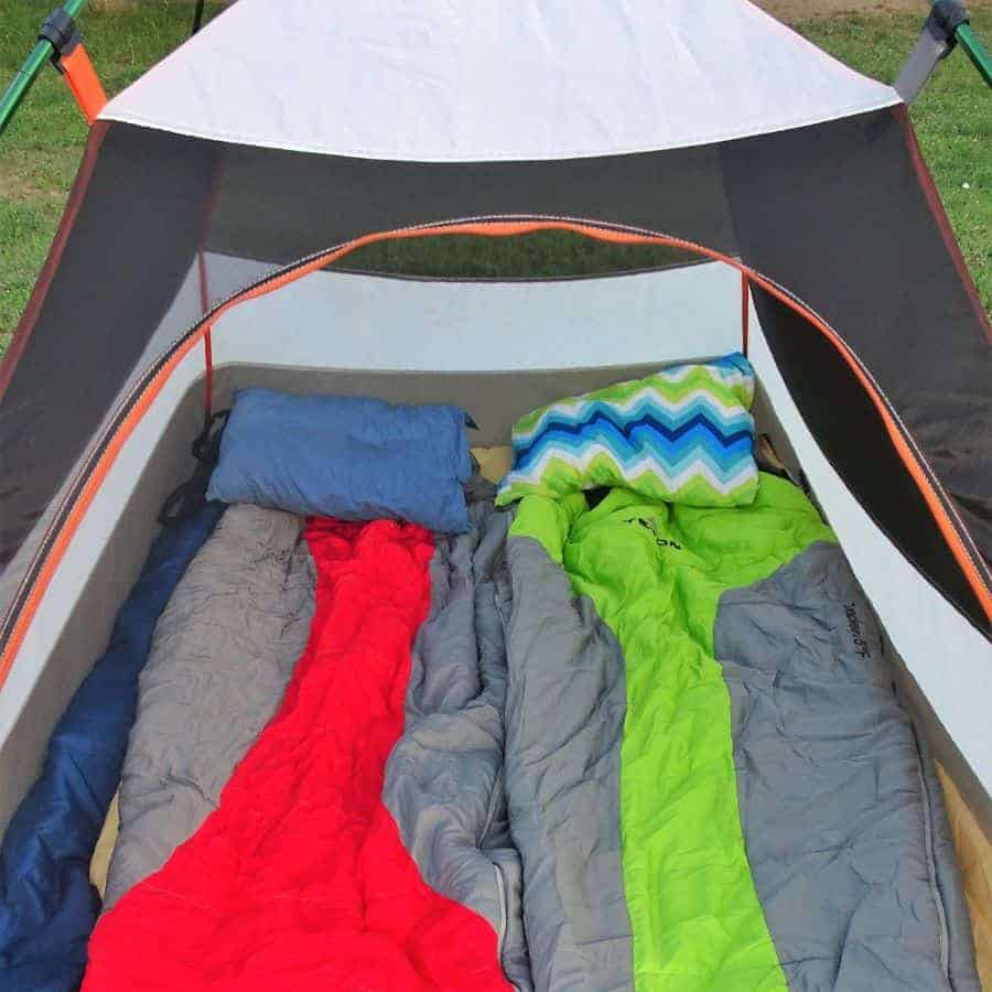camping pillows on top of sleeping bags
