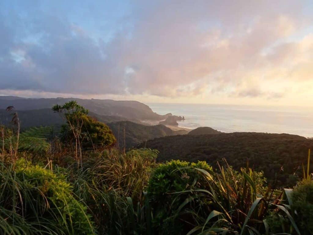 beautiful-sunset-piha-bay-new-zealand