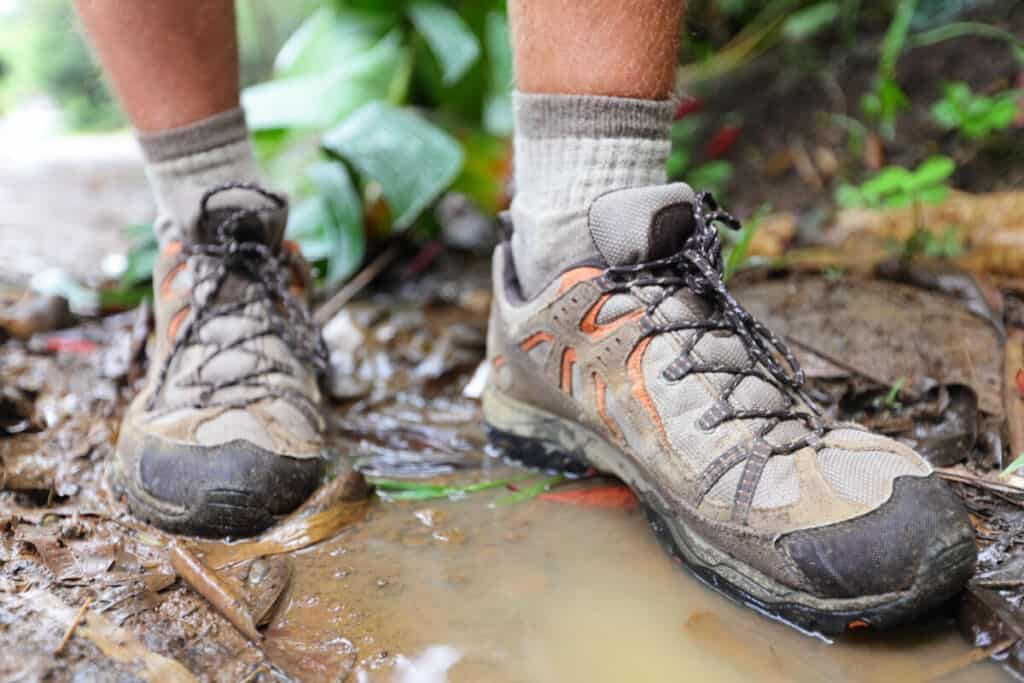 hiking-shoes-in-a-puddle